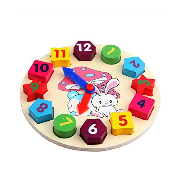 Shape Blocks Clock Netspower Kids Learning Educational Development Wooden Toys Shape Sorting Geometry Clock Learn to Tell Time Puzzle Toy for Toddler