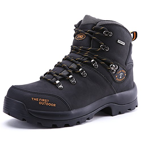 The First Outdoor Women's Waterproof Hiking Boots, Trekking Outdoor Sneakers Climbing Sports Breathable Shoe Black (US 6)