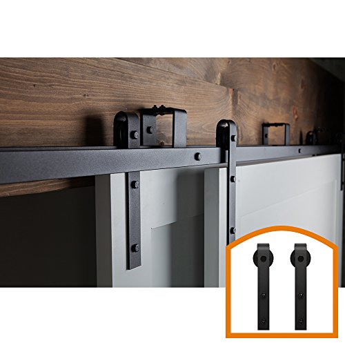 ZEKOO New Style 5 FT - 16 FT Bypass Sliding Barn Door Hardware Steel Track for Double Wooden Doors Closet Kitchen Kit (5FT New Style Bypass kit) Low Ceiling
