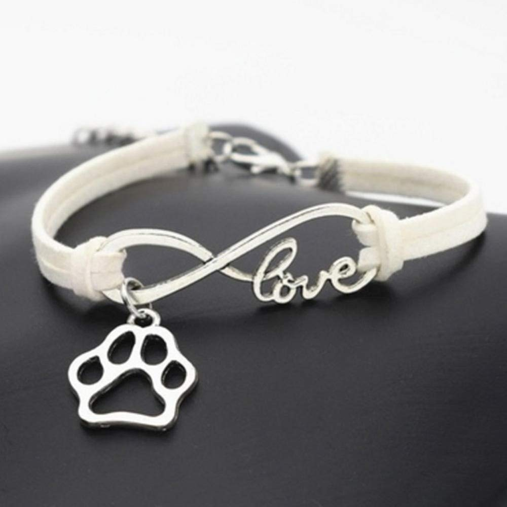 Mesielldp Dog Paw Pattern Vintage Style Leather Rope Wrap Best Friends Bracelets The Dog Paw Pattern is Very Cute 6G 5Cm 1.97 Inch