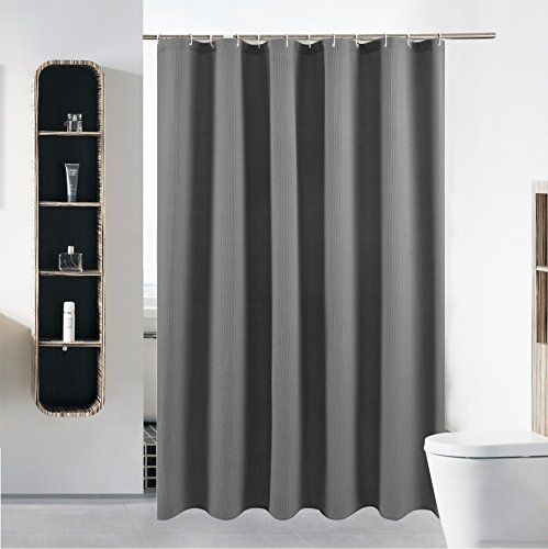(Stall Fabric Shower Curtain or Liner for Bathroom Washable Waterproof Cloth Polyester (Best Hotel Quality Friendly) with Curved Plastic Hooks Set - 54