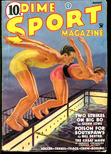 DIME SPORT MAGAZINE 1935 AUG-#2-SWIMMING COVER VG - Dime Sports Magazine