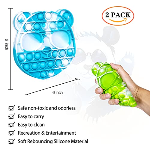 LOLStar Cool Bear Tie-dye Pop Toy, Panda Push Pop Pop Bubble Fidget Toy, Silicone Squeeze Sensory Tools to Relieve Emotional Stress for Autism Kids Adults Sky Blue and Green (2 Pack)