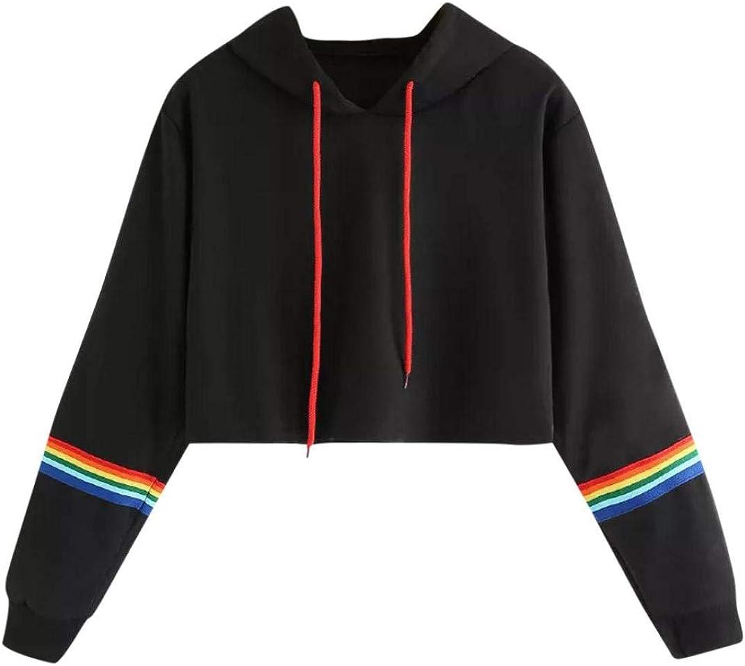 Gocheaper Women Teen Girls Hoodie Sweatshirt Casual Colorful Striped Panel Hoodie Sweatshirt Tops Blouse