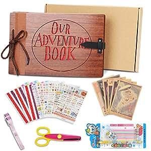 Our adventure MOMKEY, Book Album up, Libro aventuras up, Álbum de fotos de madera artificial (80 páginas) - Regalo ideal para el Día de San Valentín, Navidad, Aniversario, Cumpleaños y Aniversario.