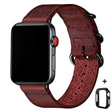 Vintage Leather Bands Compatible with Apple Watch Band 38mm 40mm 42mm 44mm,Genuine Leather Retro Strap Compatible for Men Women iWatch Series5 Series 4/3/2/1 (Wine Red+Black Connector, 42mm 44mm)