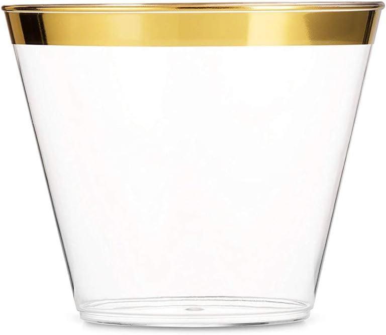 Funhoo Paquete de 50 Tazas de pl/ástico de 9 oz Taza desechable Transparente para Beber con Borde Dorado para la Fiesta de cumplea/ños Wedding Bar Cafe Hotel 50pcs Copa para Beber