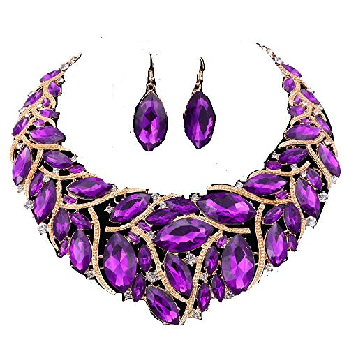 African Beads Jewelry Sets Women Bridal Crystal Statement Necklace Earring Jewelry Sets (Purple) ()