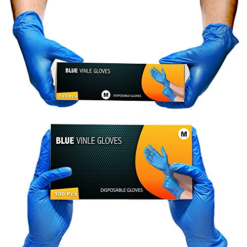 Multi-Purpose Vinyl Gloves, Powder Free, Disposable, Extra Strong – Box of 100 – Blue – UK SELLER(M)