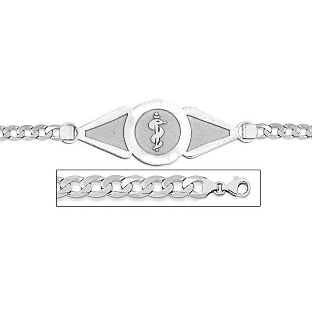 PicturesOnGold.com 14K White Gold Medical ID Bracelet W/Curb Chain - 8-1/2 WITH ENGRAVING