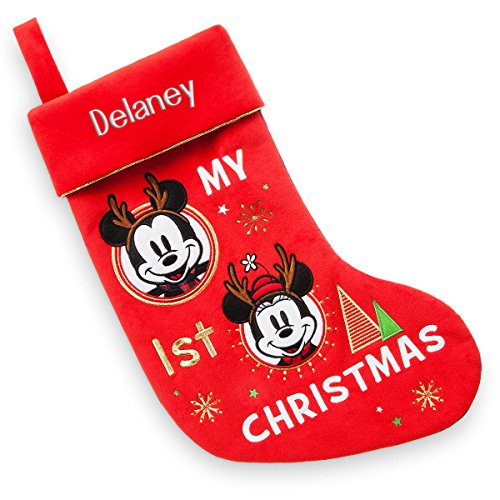 Mouse Personalized Holiday Mickey (Disney Store Minnie Mickey Mouse Holiday My First Christmas Stocking 2017)