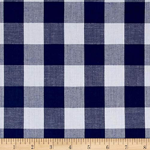 Blue Gingham Fabric (Richland Textiles Richcheck 60in Gingham Check 1in Navy Fabric By The)