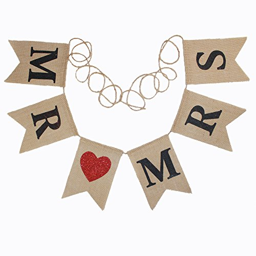 Koker Mr and Mrs Burlap Bunting Banners Garland - Vintage Rustic Wedding Table Hanging Signs for Bridal Shower, Wedding Photo Booth Props Backdrop Decoration, 6pcs Flags (Red Chair Outdoor Rustic Kids)