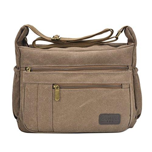 Fabuxry Light Weight Canvas Shoulder Bag for Women Messenger Handbags Cross Body Multi Zipper Pockets Bags (Brown)