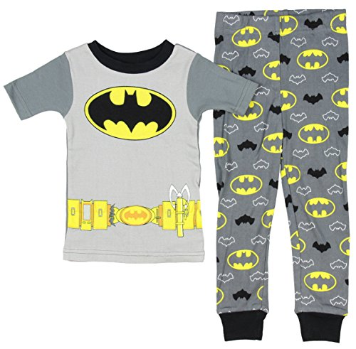 AME Sleepwear DC Comics Little Boys Batman Grey Short Sleeve Pajamas