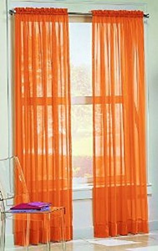 Gorgeous Home 2PC BRIGHT ORANGE SOLID SOFT VOILE SHEER WINDOW CURTAIN PANELS DRAPES 54