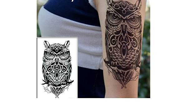 Tattoo temporär búho negro brazo Brazo Tattoo también para cuerpo ...