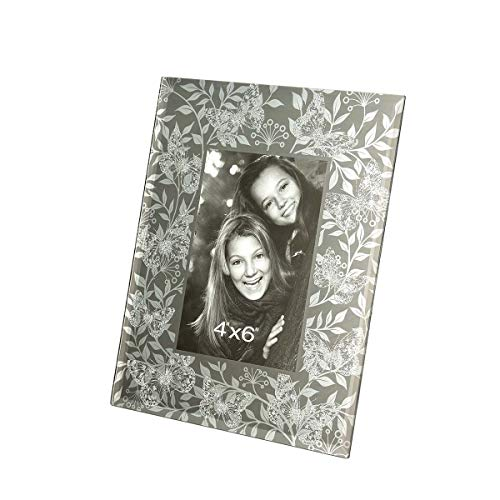(CN CRAFTS 4 X 6 Photo Frames with Hand-Polished Beveled Edge and Perspective Silver Glitter Butterflies and Vine Printing in Mirror Glass)