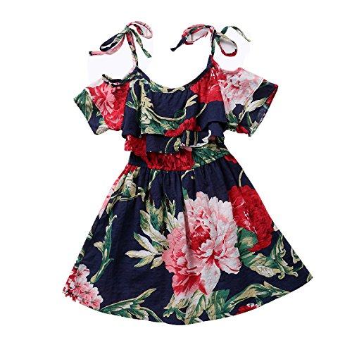 Little Kids Girls Summer Pleated Off-Shoulder Flower Sling Dress … (Navy Blue, 130 (6-7 Years))