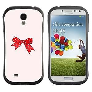 "Hypernova Slim Fit Dual Barniz Protector Caso Case Funda Para SAMSUNG Galaxy S4 IV / i9500 / i9515 / i9505G / SGH-i337 [Punto Rojo Rosa Bowtie Peach""]"