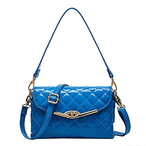 Bolsos Monedero Yy.f Rayas Bolso De Hombro Bolso De Mano Bolso De Las Señoras Monedero De Cuero De La PU Bolso Elegante Blue