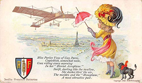 Swifts Premium Butterine Advertising Girl with Poodle Airplane PC J2531232