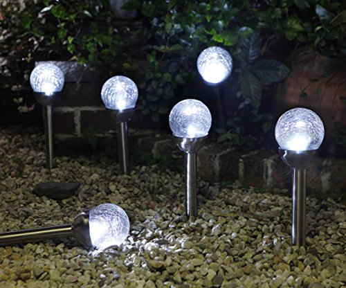 Grand Patio Crackle Glass Globe Solar Path Lights, Weather–Resistant Solar Garden Lights, Landscape Solar Lights Outdoor, Set of 4 (Globe Lanterns Glass)