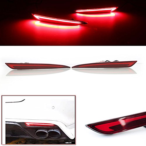 Rear Bumper Reflector Light - 3D Optic Red LED Rear Bumper Reflector Turn Signal Brake Tail Lights Lamps For 2014 2015 2016 Ford Fusion Mondeo 2 Pack