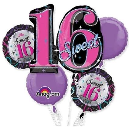 Amazon LoonBalloon SWEET 16 16th Sixteen Black Pink Birthday