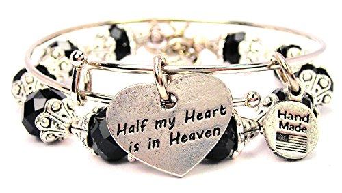 2-Piece-Set-Half-My-Heart-Is-in-Heaven-Black-Bangle-Bracelet-Collection