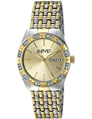 August Steiner Womens AS8177TTG Silver and Yellow Gold Crystal Accented Quartz Watch with Gold Dial and Two Tone...