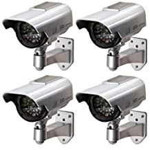 Solar Dummy Security Camera - SODIAL (R) Solar Dummy Security Camera Powered LED Lamp Outdoor CCD Camera CCTV IP Camera Silver for House Shop (4 pack) silver