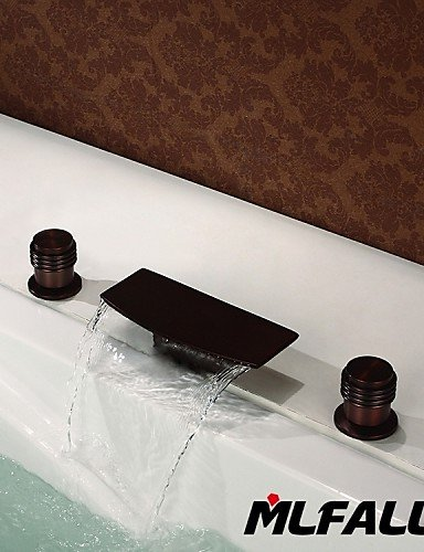 Mlfalls Brands Waterfall Spout Oil Rubbed Bronze Bathroom Basin or Tub Faucet Filler Hand
