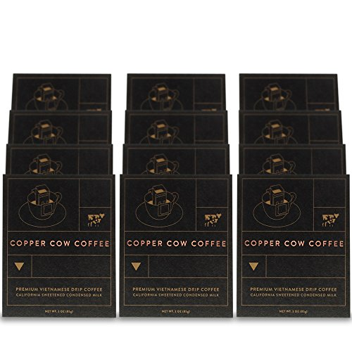 Copper Cow Coffee Vietnamese Single-Use Portable Pour Over (12 pack) - with California Sweetened Condensed Milk Packets