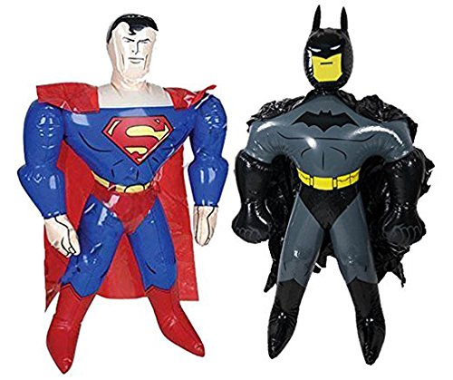 Inflatable Superhero (1 Set of 40 Inch Batman and 40 Inch Superman Inflatable Superhero Comic Book Toys)