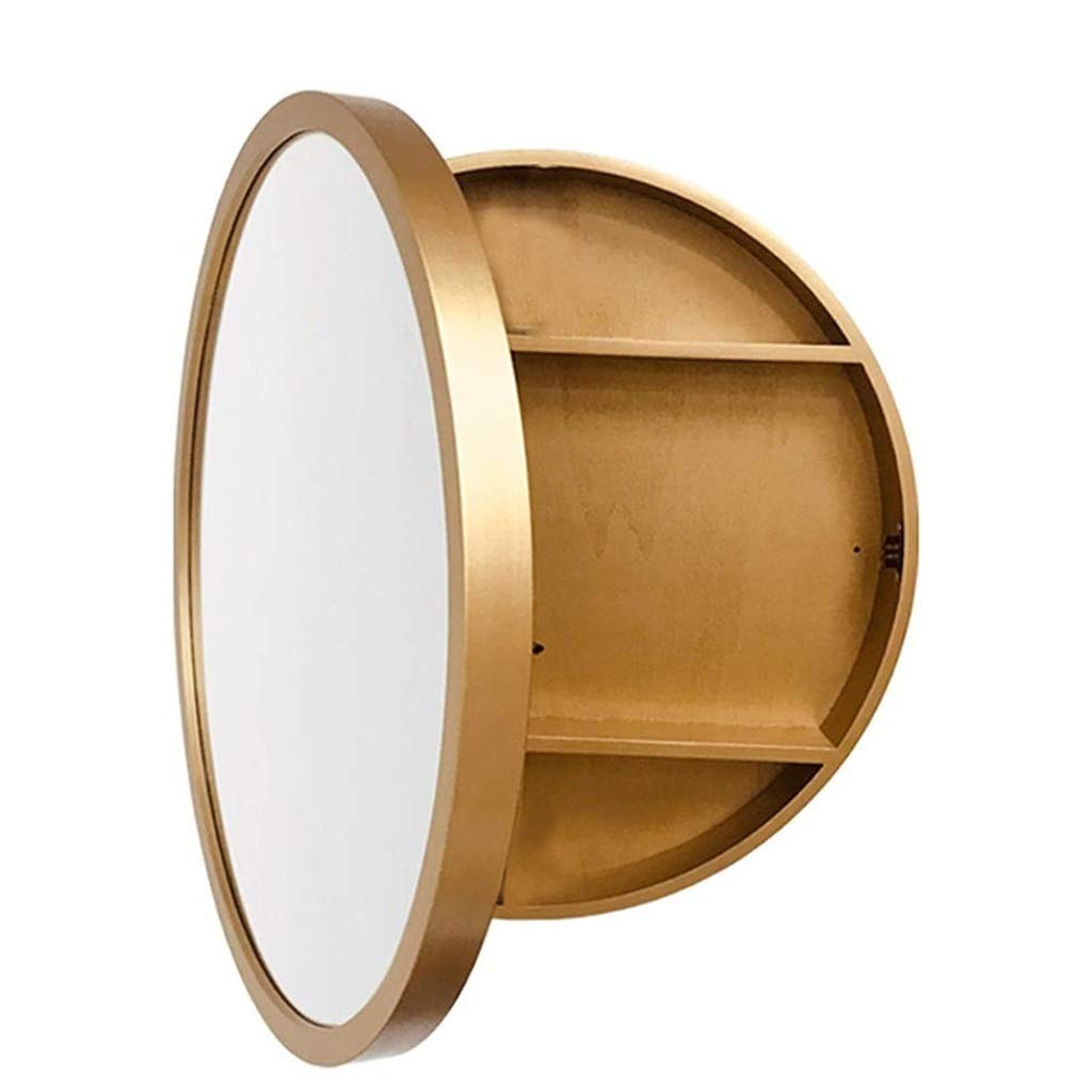 Amazon Com Sdk Round Bathroom Mirror Cabinet Bathroom Wall Storage Cabinet Mirror Medicine Cabinet With Slow Close Wooden Frame 3 Level Color Gold Size 50cm Beauty