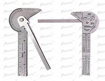 Engineers Protractor Square Rule Gauge Centre Finder Divider Drill Point Tool