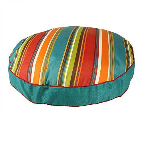Medium Green Multi Rugby Stripes Pattern Dog Bed, Elegant Rainbow Color Stripe-Inspired Print Pet Bedding, Round Shape, Features Water, Fade Resists, Removable Cover, Soft & Comfy Design, Polyester by CU
