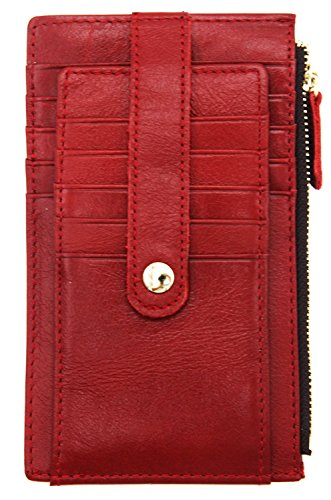 DKER RFID Blocking Top Grain Leather Credit Card Wallet Bifold with Snap - Red