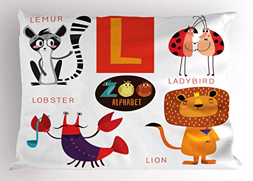 Lunarable ABC Pillow Sham, Zoo Alphabet in L Letter with Lobster Lion Ladybird Lemur Humor School My Name, Decorative Standard King Size Printed Pillowcase, 36