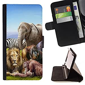 DEVIL CASE - FOR Apple Iphone 5C - African Animals Zoo Elephant Lion Zebra - Style PU Leather Case Wallet Flip Stand Flap Closure Cover