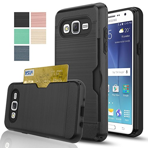 Samsung Galaxy J7 Case with HD Screen Protector,(Not Fit J7 2016) AnoKe[Card Slots Holder][Not Wallet] Plastic TPU Hybrid Shockproof Heavy Duty Case for Samsung Galaxy J7 J700 2015 KC2 Black New