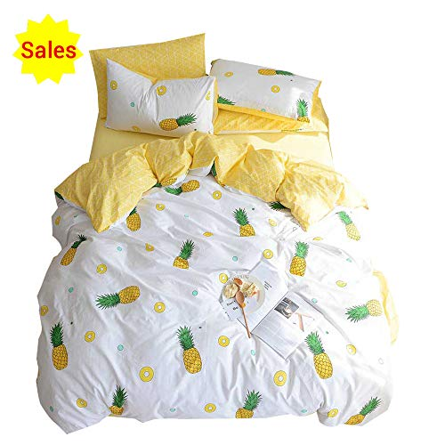 Soft 100% Cotton Bedding Sets 3 Piece Luxury fruit flesh Pineapple print Kids Duvet Cover Set because of Pillowcases Zipper Ties, very best Teen Girls Bedding Gifts Set kids Bed Set, No Comforter(Yellow, Twin)