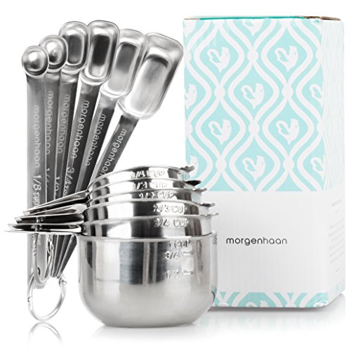 Stainless Steel Measuring Cups and Spoons: Durable, Elegant All-in-One Kitchen Measuring Set for Dry and Liquid Ingredients - Features 6 Narrow and Stackable Spoons and 6 Nesting Cups for Easy Storage (1 Cup Measuring Spoon)