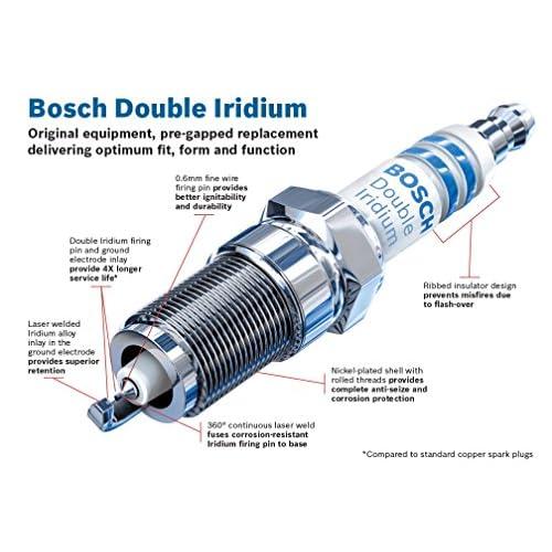 Bosch 9689 Double Iridium Spark Plug, Up to 4X Longer Life
