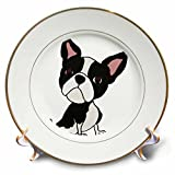 3dRose Funny Cute Boston Terrier Puppy Dog Art Cartoon Porcelain Plate,