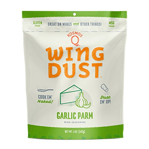 Kosmos Q Garlic Parmesan Wing Dust | MSG & Gluten-Free | Chicken Wing Seasoning | Dry BBQ Rub Spice | 5 oz. Bag