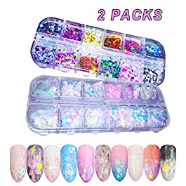 Holographic Nail Sequins and Colorful Round Nail flakes Mermaid Iridescent Nail Glitter Flakes Make Up for Face Body Eyes 24 Boxes