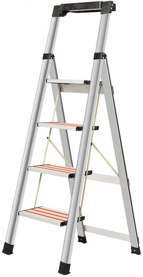 vierstufiger Treppenleiter Tritthocker MLMHLMR Tragbare Klappleitern Edelstahlleitern Multifunktionsleiter aus Aluminium f/ür den Innen und Au/ßenbereich Vier Stufen