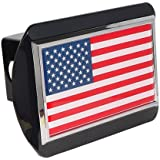 American United States USA Flag Black Metal Trailer Hitch Cover Fits 2 Inch Car Truck Receiver